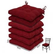 6 Almofadas para Assento de Cadeiras Vermelha