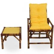 Cadeira de Bambu 1 Lugar com Almofada Amarela