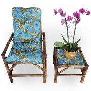 Cadeira de Bambu 1 Lugar com Almofada Flor Azul