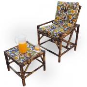 Cadeira de Bambu 1 Lugar com Almofada Floral