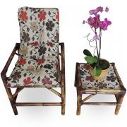 Cadeira de Bambu 1 Lugar com Almofada Flores Hibiscos