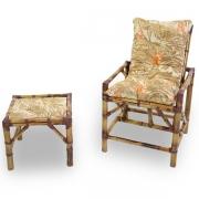 Cadeira de Bambu 1 Lugar com Almofada Folhagem Claro