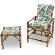 Cadeira de Bambu 1 Lugar com Almofada Impermeável Aruba