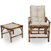 Cadeira de Bambu 1 Lugar com Almofada Impermeável Bege
