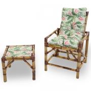 Cadeira de Bambu 1 Lugar com Almofada Impermeável Flor