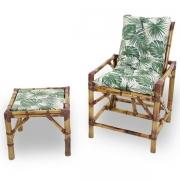 Cadeira de Bambu 1 Lugar com Almofada Impermeável Folha