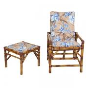 Cadeira de Bambu 1 Lugar com Almofada Orquídea Azul