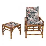 Cadeira de Bambu 1 Lugar com Almofada Orquídea Marrom