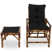 Cadeira de Bambu 1 Lugar com Almofada Preta