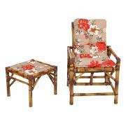 Cadeira de Bambu 1 Lugar com Almofada Zenaide Vermelho