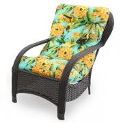 Cadeira de Fibra Com Almofada Flor Amarela