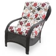 Cadeira de Fibra Com Almofada Flores Hibiscos