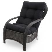 Cadeira de Fibra Com Almofada Preta