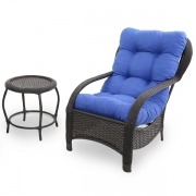 Cadeira de Fibra com Mesa e Almofada Azul
