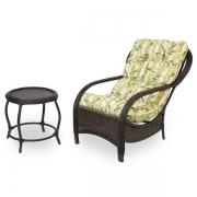 Cadeira de Fibra com Mesa e Almofada Bambu Claro