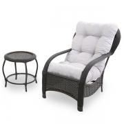 Cadeira de Fibra com Mesa e Almofada Cinza