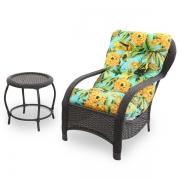 Cadeira de Fibra com Mesa e Almofada Flor Amarela