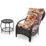 Cadeira de Fibra com Mesa e Almofada Folhagem Outono