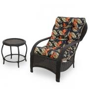 Cadeira de Fibra com Mesa e Almofada Helicônia