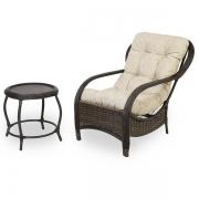 Cadeira de Fibra com Mesa e Almofada Impermeável Bege