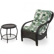 Cadeira de Fibra com Mesa e Almofada Impermeável Folha