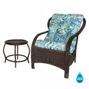 Cadeira de Fibra com Mesa e Almofada Impermeável Tiffany