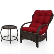 Cadeira de Fibra com Mesa e Almofada Marsala