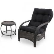 Cadeira de Fibra com Mesa e Almofada Preta