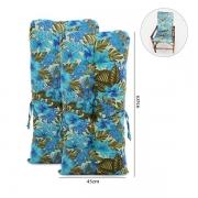 Kit 2 Almofadas Para Cadeiras de Bambu e Vime Flor Azul