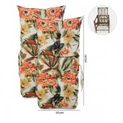 Kit 2 Almofadas Para Cadeiras de Bambu e Vime Flores Laranja