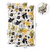 Kit 2 Almofadas Para Cadeiras de Bambu e Vime Flores Preta
