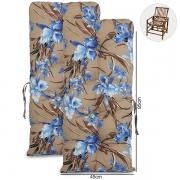 Kit 2 Almofadas Para Cadeiras de Bambu e Vime Orquídea Azul