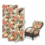 Kit 2 Almofadas Para Cadeiras de Fibra Flores Laranja