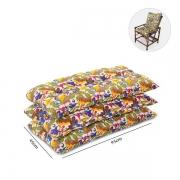 Kit 3 Almofadas Para Cadeiras de Bambu e Vime Floral
