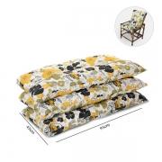 Kit 3 Almofadas Para Cadeiras de Bambu e Vime Flores Preta