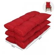 Kit 3 Almofadas Para Cadeiras de Bambu e Vime Vermelha