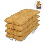 Kit 4 Almofadas P/ Cadeiras de Bambu e Vime Amarelo Mesclado