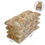 Kit 4 Almofadas P/ Cadeiras de Bambu e Vime Folhagem Claro