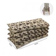 Kit 4 Almofadas Para Cadeiras de Bambu e Vime Flor Marrom