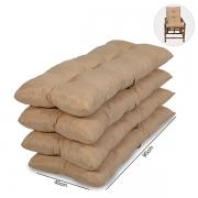 Kit 4 Almofadas Para Cadeiras de Bambu e Vime Nude