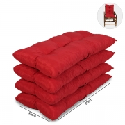 Kit 4 Almofadas Para Cadeiras de Bambu e Vime Vermelha