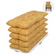 Kit 5 Almofadas P/ Cadeiras de Bambu e Vime Amarelo Mesclado