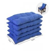 Kit 5 Almofadas Para Cadeiras de Bambu e Vime Azul