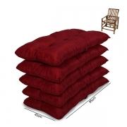 Kit 5 Almofadas Para Cadeiras de Bambu e Vime Cores Lisa