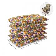 Kit 5 Almofadas Para Cadeiras de Bambu e Vime Floral