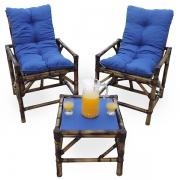 Kit Cadeiras de Bambu 2 Lugares com Almofadas Azul