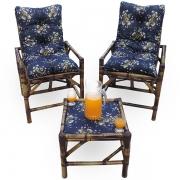 Kit Cadeiras de Bambu 2 Lugares com Almofadas Azul Florida