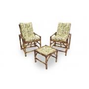 Kit Cadeiras de Bambu 2 Lugares com Almofadas Bambu Claro