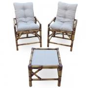 Kit Cadeiras de Bambu 2 Lugares com Almofadas Cinza