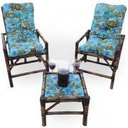 Kit Cadeiras de Bambu 2 Lugares com Almofadas Flor Azul